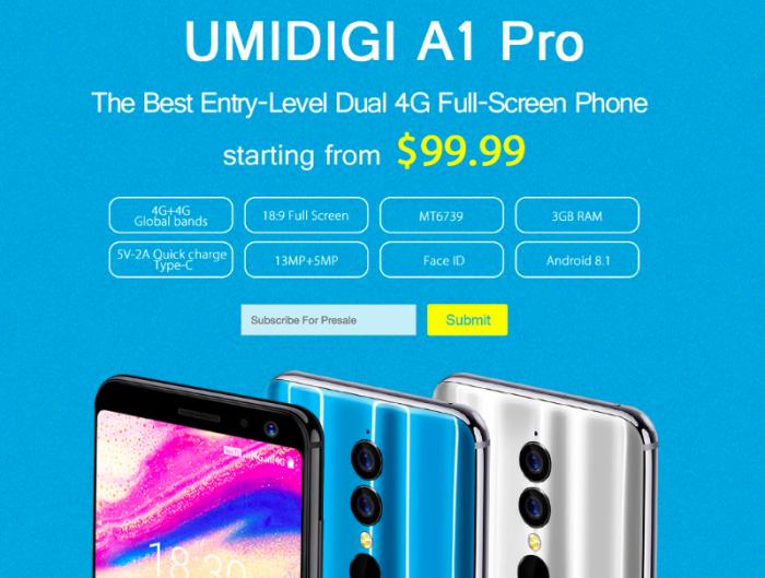 UMIDIGI A1 Pro — смартфон начального уровня с дисплеем 18:9 за $99,99 – фото 1
