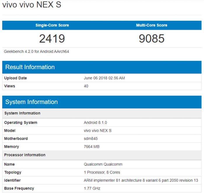 Vivo NEX был замечен в Geekbench – фото 1
