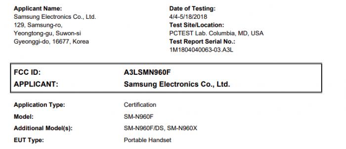 Samsung Galaxy Note 9 получил сертификат FCC – фото 2