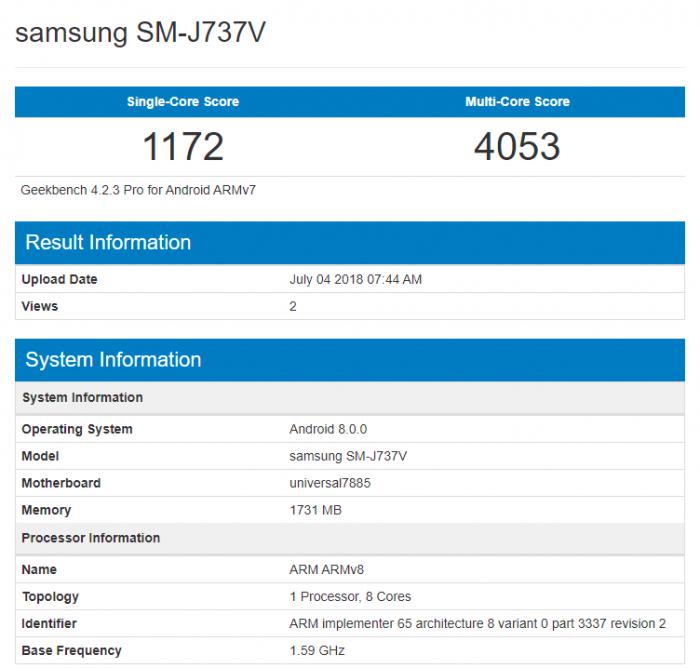 Samsung Galaxy J7 Aero протестирован в Geekbench – фото 2