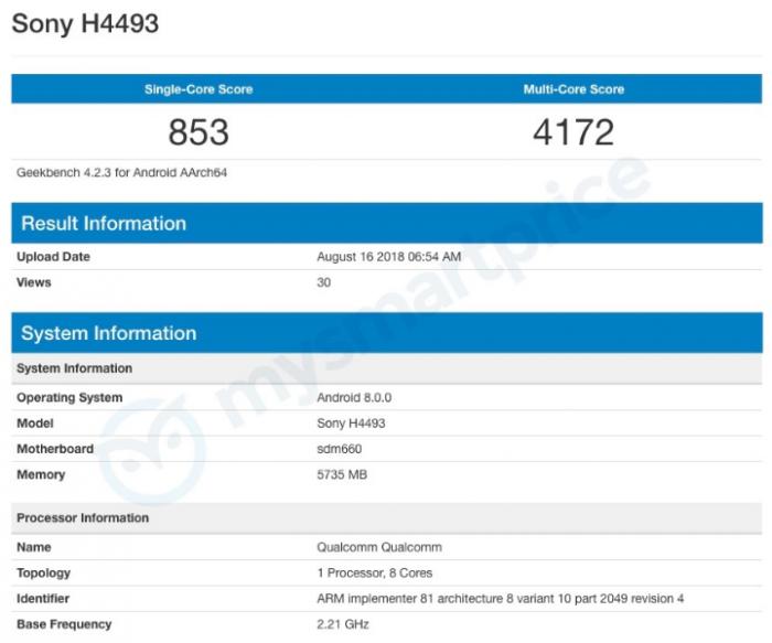 Sony Xperia XA3 с чипом Snapdragon 660 появился в Geekbench – фото 2