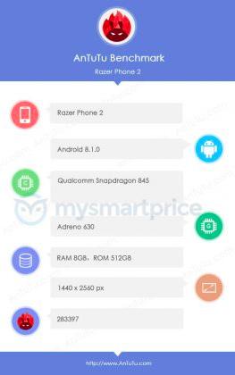 AnTuTu подтверждает у Razer Phone 2 чип Snapdragon 845 и заявлено 512 Гб флеш-памяти – фото 2