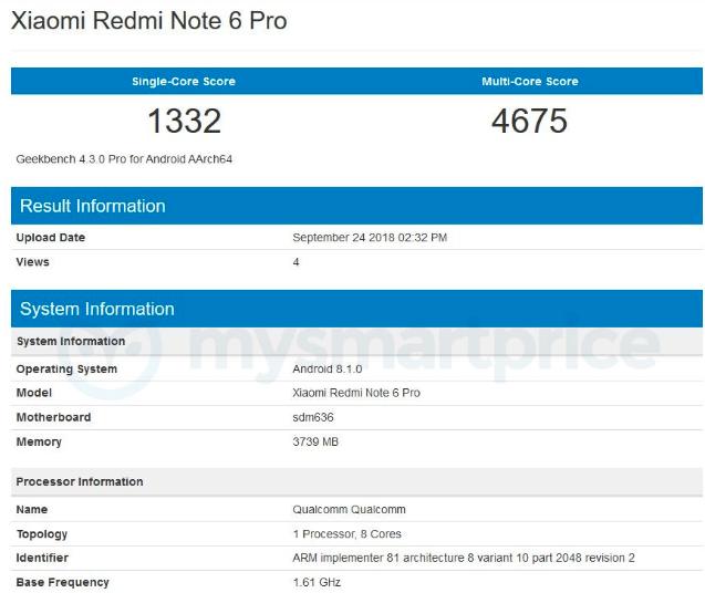 Xiaomi Redmi Note 6 Pro прогнали через бенчмарк Geekbench – фото 1