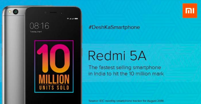 Xiaomi Redmi 5A самый быстро растущий миллионник по продажам в Индии – фото 1