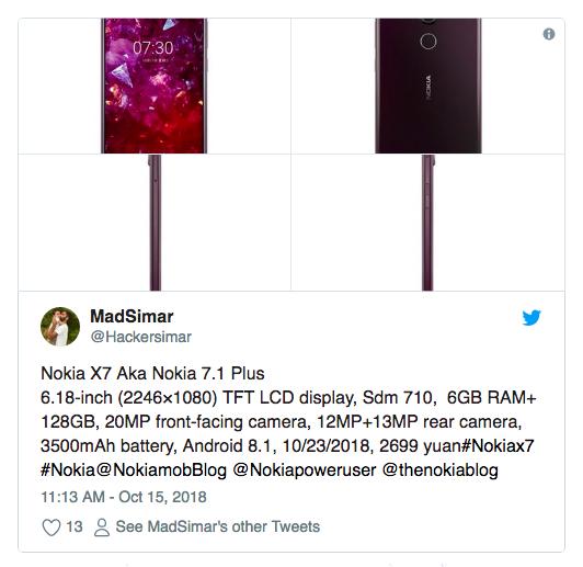 Рассекречены характеристики и изображения Nokia 7.1 Plus (Nokia X7) – фото 2