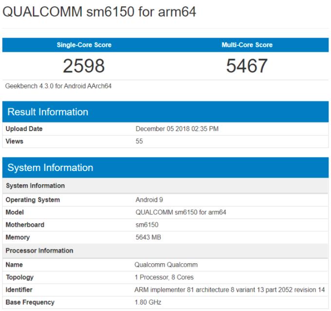 Snapdragon 6150 появился в базе данных Geekbench – фото 1