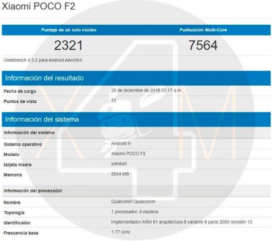 Pocophone F2: вторая попытка взлета? Смартфон замечен в Geekbench – фото 1
