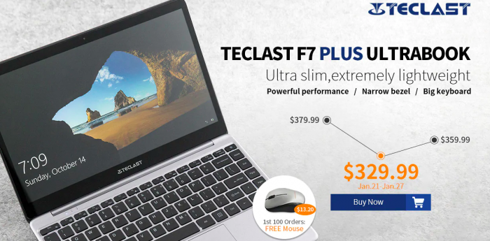 Скидки Gearbest: Teclast F7 Plus Notebook и UMIDIGI F1 – фото 1