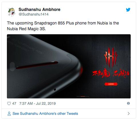 сообщение в twitter о Nubia Red Magic 3S