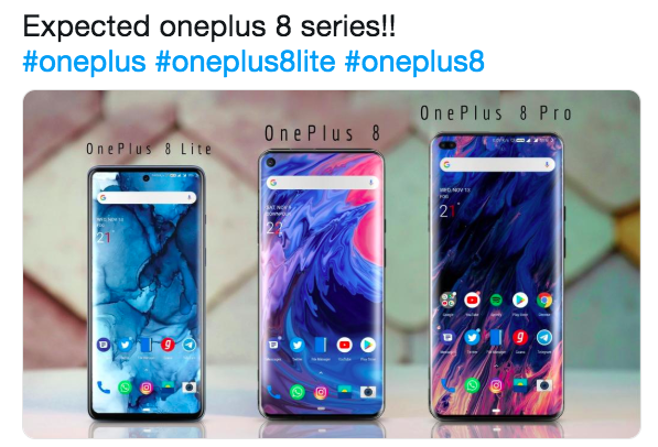 Три варианта OnePlus 8 показали на одном изображении
