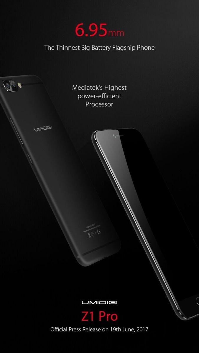 UMIDIGI Z1 получит Helio P20, 6 Гб ОЗУ и аккумулятор на 4000 мАч в корпусе толщиной 6,95 мм – фото 1
