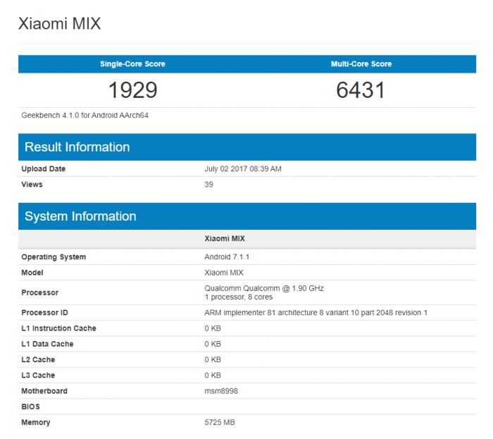 Xiaomi Mi MIX 2 с Snapdragon 835 и 6 Гб ОЗУ замечен в бенчмарке – фото 1