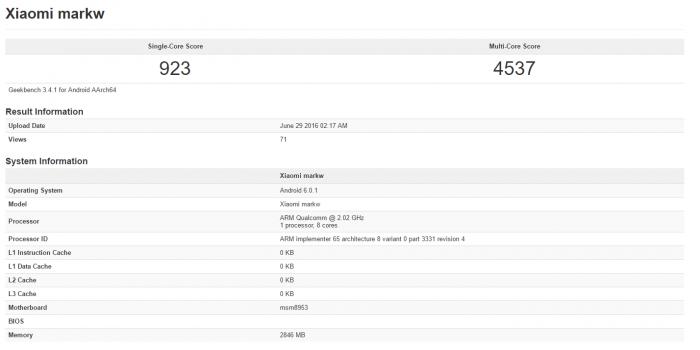 Xiaomi markw на базе Snapdragon 625 показал себя в бенчмарке Geekbench – фото 1
