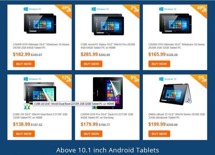Распродажа планшетов с диагональю более 10 дюймов и с системой Windows 10 в магазине Tinydeal.com – фото 2