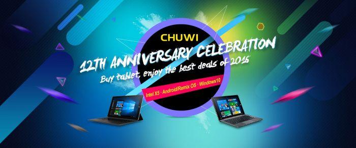 Акция на планшеты Chuwi Hi12, Hi10 Plus, Hi10 Pro, HiBook Pro, Vi10 Plus и Hi8 в честь 12-летия бренда в самом разгаре! – фото 1