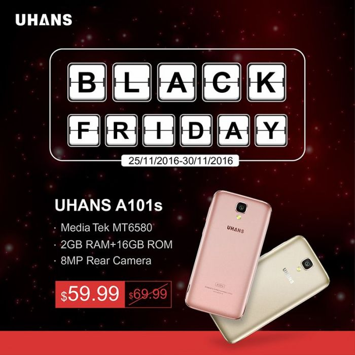 UHANS A101s с экраном Sharp, камерой Sony и памятью 2/16 ГБ отдадут за $59.99 в Черную пятницу – фото 1