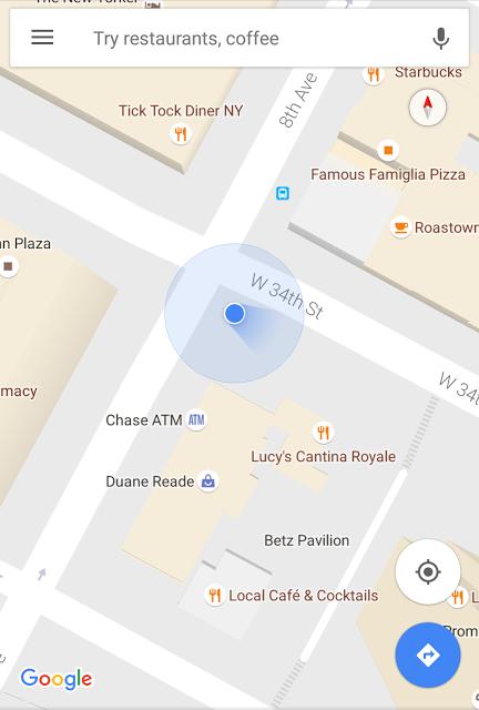 Сервис Google Maps обновился: появился синий луч для отображения местонахождения – фото 1