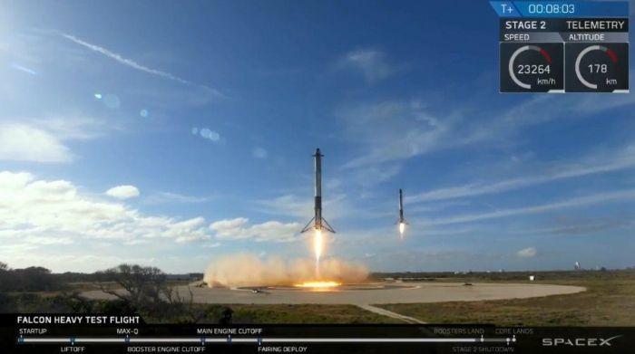 Илон Маск подтвердил, что сегодня при запуске Falcon Heavy был потерян центральный ускоритель – фото 1
