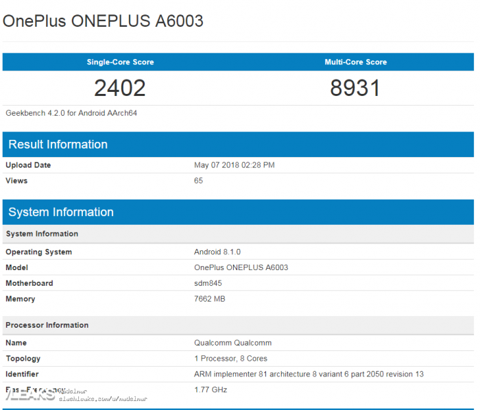 OnePlus 6 показал свою мощь в Geekbench – фото 1