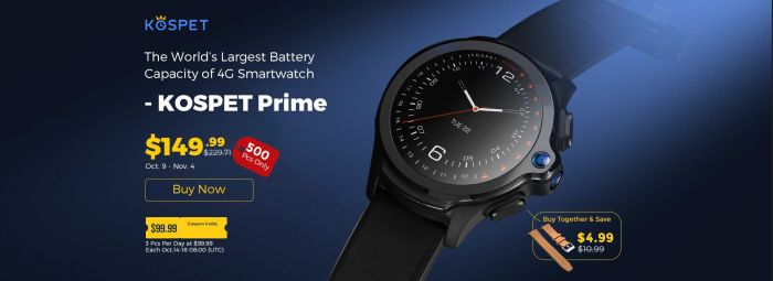 Kospet Prime — смарт-часы с автономностью до 7 дней и Face Unlock со скидкой на Gearbest – фото 1