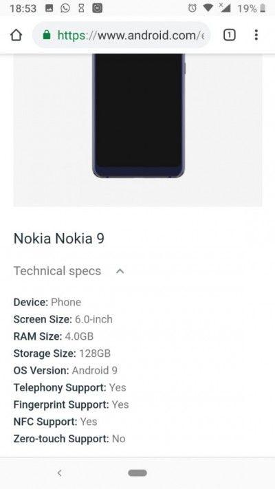 Официальный сайт Android подтвердил ряд характеристик Nokia 9 – фото 2