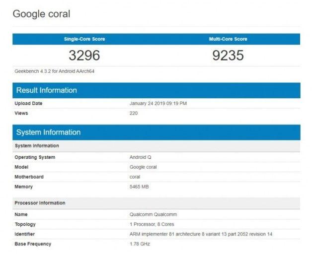 Google Coral замечен в Geekbench. Первый с Android Q – фото 2
