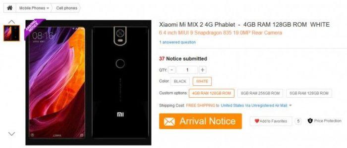 Gearbest опубликовал характеристики Xiaomi Mi MIX 2 – фото 2
