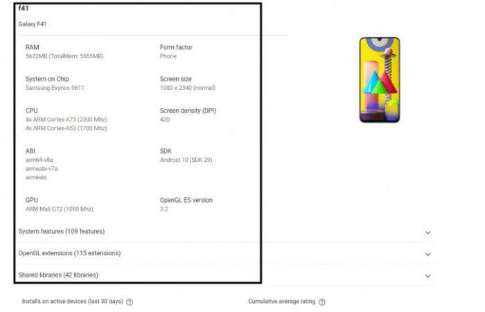 Первые подробности о Samsung Galaxy F41 – фото 1