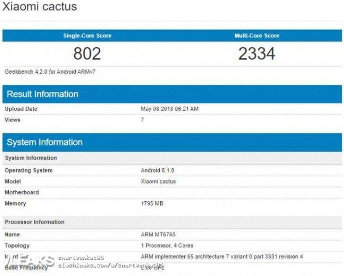 В Geekbench замечен смартфон Xiaomi Cactus с чипом MediaTek – фото 1