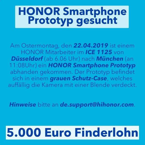 Honor объявила о вознаграждении за утерянный прототип смартфона – фото 1