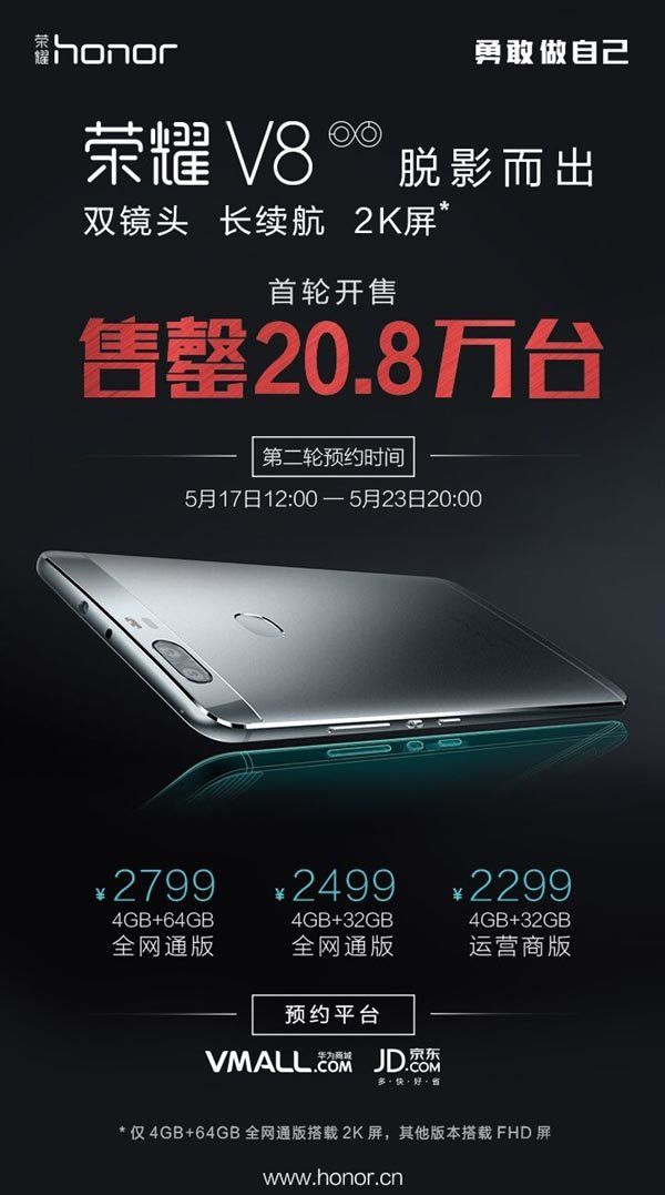 Huawei Honor V8: продажи смартфона идут на рекорд – фото 1