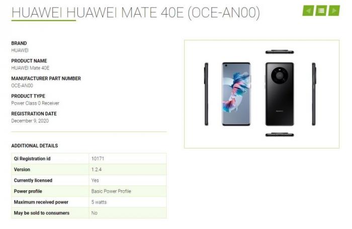 Huawei Mate 40E сертификат