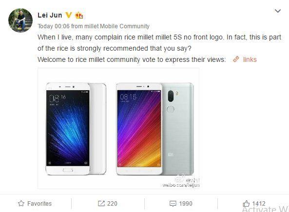 Xiaomi интересуется у покупателей, нужен ли фирменный логотип Mi на лицевой панели смартфона – фото 1