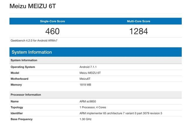 Meizu 6T с чипом Spreadtrum SC9850 появился в Geekbench – фото 1