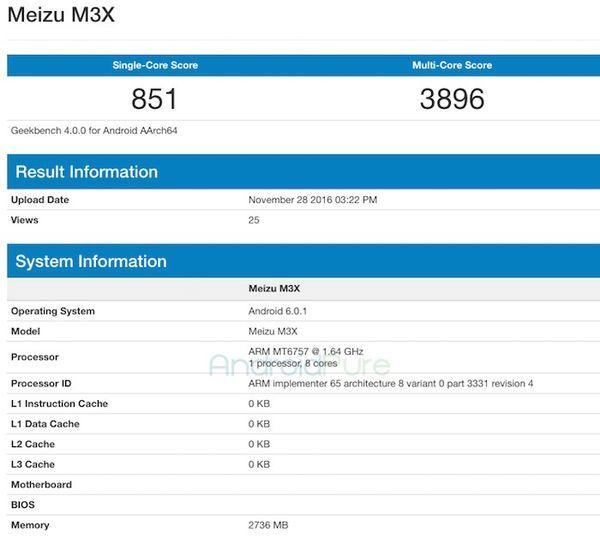 Meizu M3X засветился в GeekBench в преддверии релиза Meizu X – фото 1
