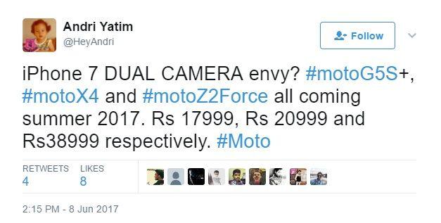 Стали известны цены на Moto Z2 Force, Moto X4 и Moto G5S Plus – фото 1