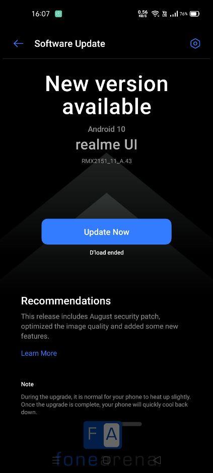 Обновление Realme 7