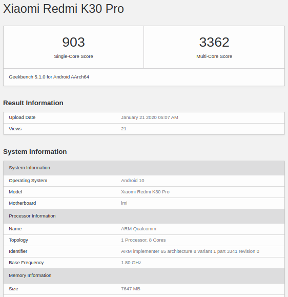 Redmi K30 Pro был замечен в бенчмарке – фото 1