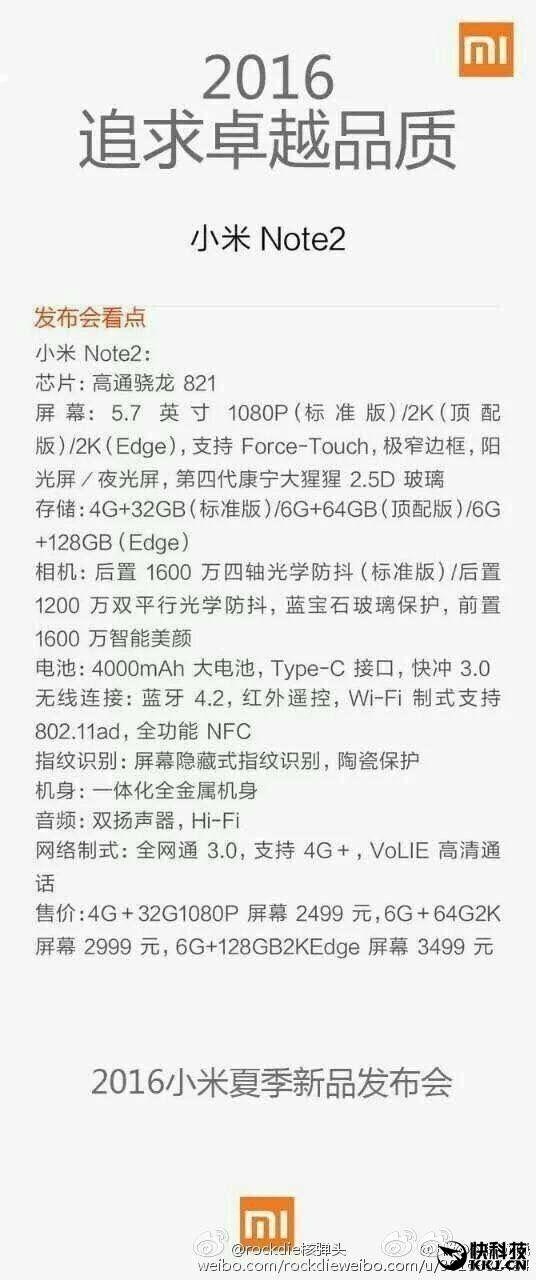 Xiaomi Mi Note 2: Snapdragon 821, чувствительный к силе нажатия 5,7-дюймовый Super AMOLED дисплей и цены от $377 до $527 – фото 2