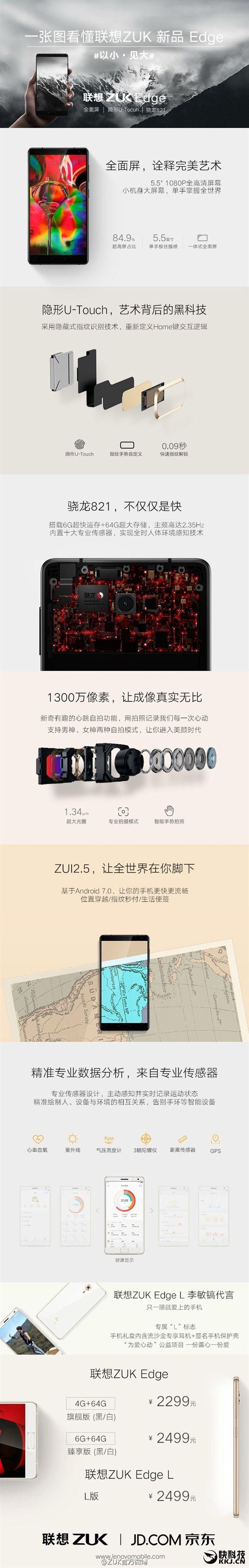 ZUK Edge с чипом Snapdragon 821 и дисплеем, занимающим 86,4% площади фронтальной поверхности представлен – фото 2