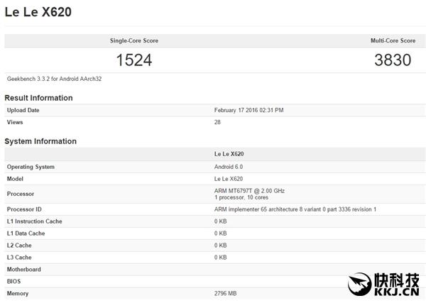 LeEco Le 2 (X620) с турбированным Helio X20 (МТ6797Т) засветился в бенчмарке GeekBench – фото 1