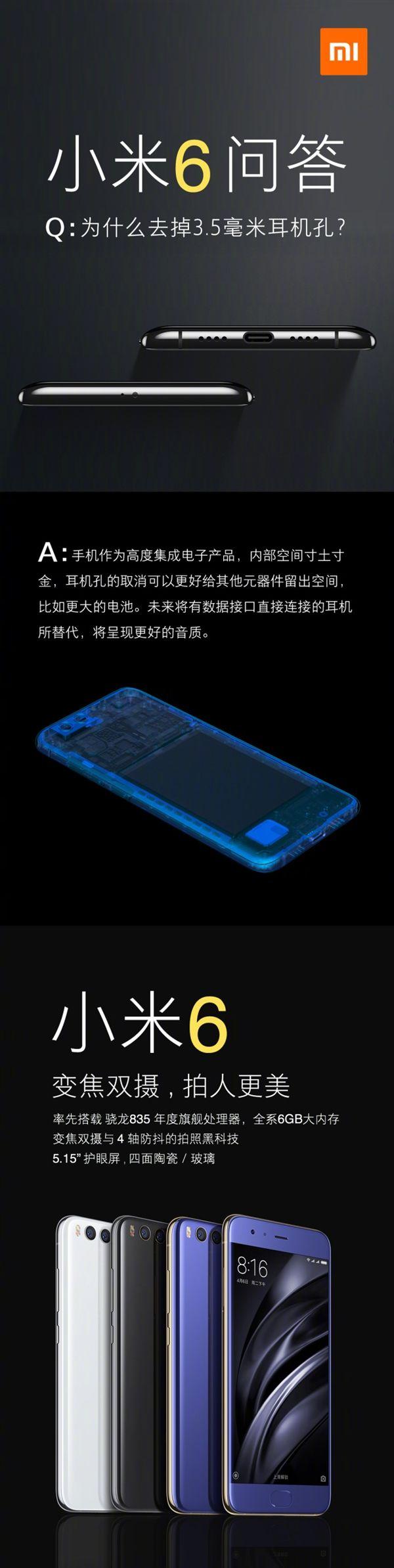 Xiaomi объяснила отказ от 3,5 мм аудиоджека в Xiaomi Mi6 – фото 2