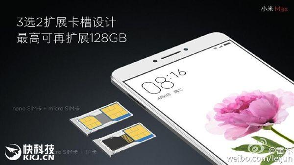 Xiaomi Mi Max позволит установить карту памяти объемом до 128 Гб вместо одной из SIM-карт – фото 2