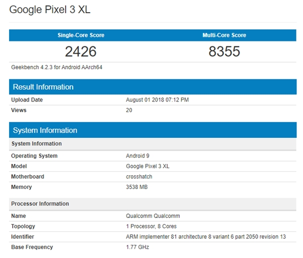 Google Pixel 3 XL появился в Geekbench – фото 2