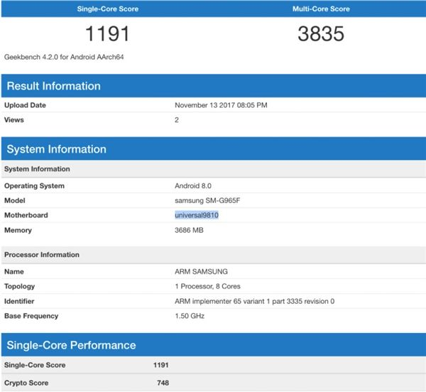 Samsung Galaxy S9+ с процессором Exynos 9810 и ОС Android 8.0 Oreo замечен в Geekbench – фото 2