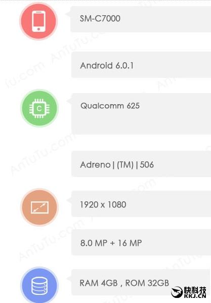 Samsung Galaxy C7 (SM-C7000) с 14нм техпроцессором Snapdragon 625 протестировали в AnTuTu – фото 2