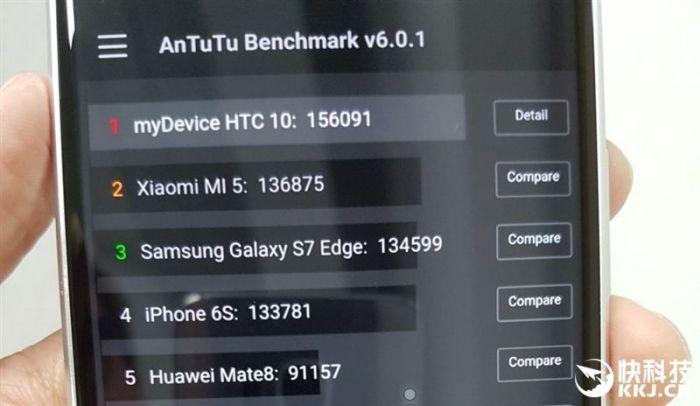 Производительность HTC 10 сравнили в бенчмарке с другими топовыми смартфонами – фото 2