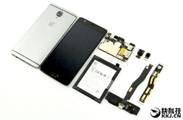 OnePlus 3 разобрали на части. Присутствие цельнометаллической тыльной крышки подтверждено – фото 1
