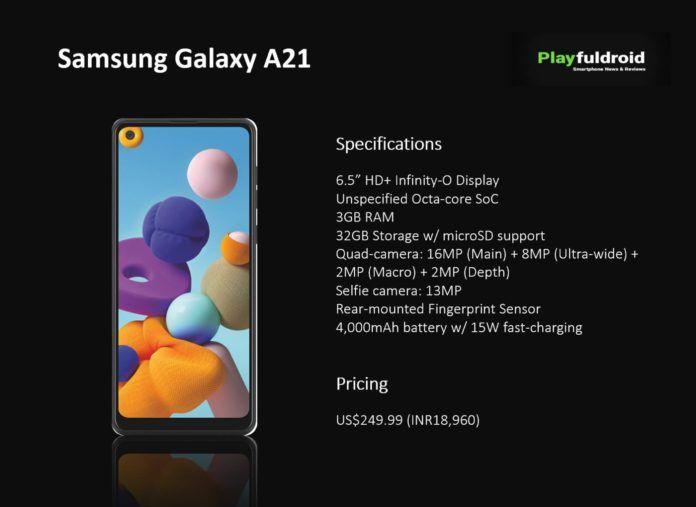 Представлен Samsung Galaxy A21 с Helio P35 и батарейкой на 4000 мАч – фото 1