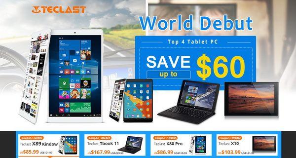 Скидки на планшеты Teclast X89 Kindow, Tbook 11, X80 Pro и X10 в интернет-магазине Banggood – фото 1